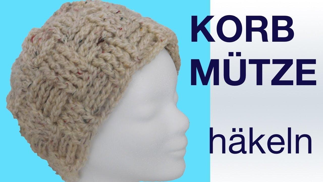 Mütze Im Korbmuster Häkeln Crochet Weave Beanie Youtube