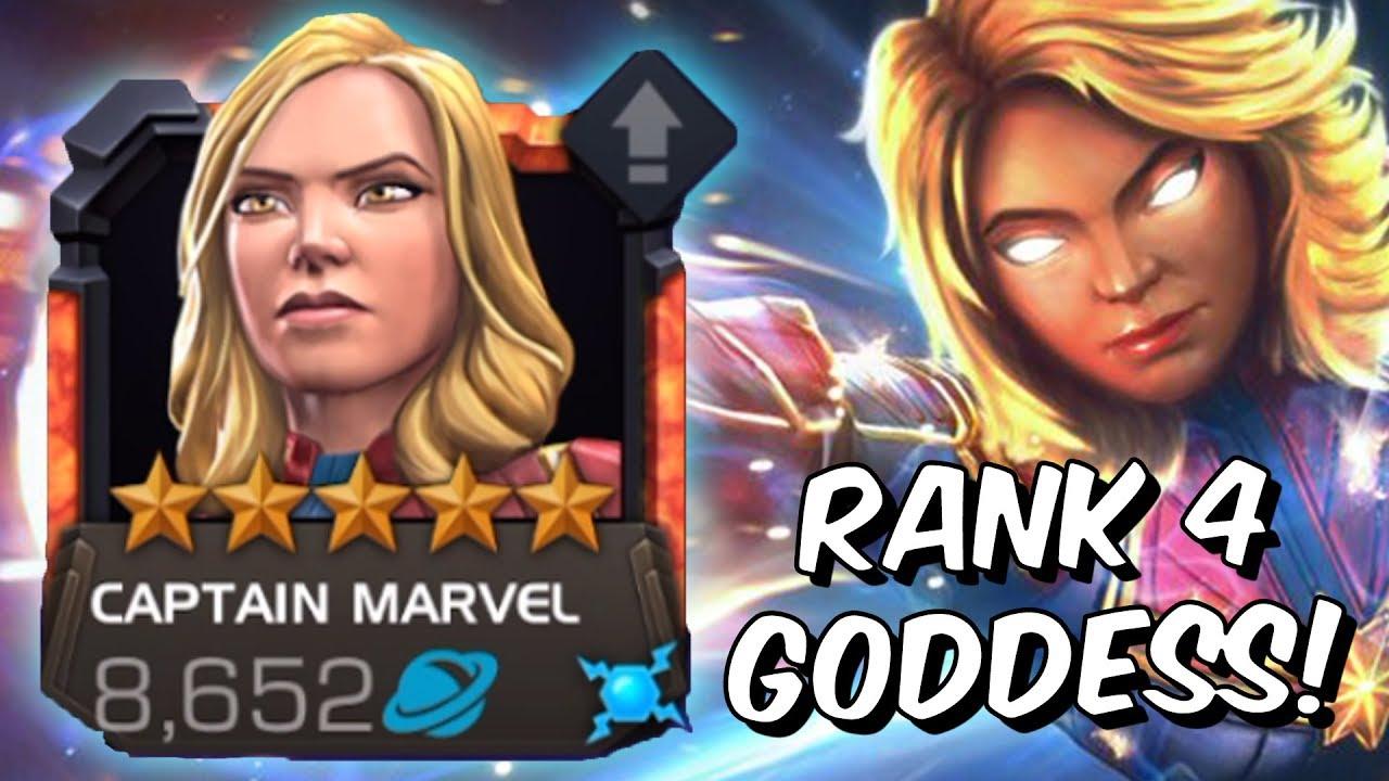 5 star captain marvel rank 4 rank up & gameplay! - god tier damage - marvel  contest of champions