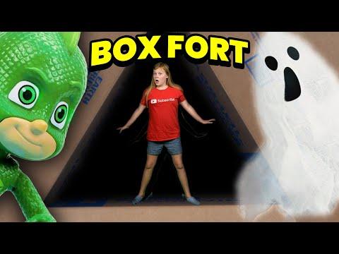 Assistant Plays Hide & Seek Game with PJ Masks in Haunted Barnyard Box Fort