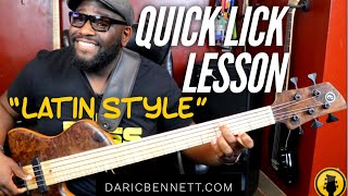 Quick Bass Lick Lesson Latin Style‼️ ~ Daric Bennett's Bass Lessons