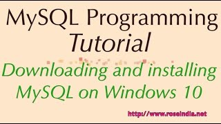 Downloading and installing MySQL on Windows 10(In this video tutorial I will teach you how to download the MySQL database server and then install it on the Windows 10 operating System. Windows 10 operating ..., 2015-08-01T12:37:44.000Z)