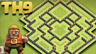 Clash of Clans - Town Hall 9 (TH9) New Farming Base 2016 [The Spaceship] + Replays
