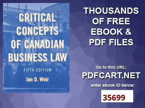 Critical Concepts of Canadian Business Law