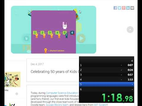 c9399b766e6f Celebrating 50 years of Kids Coding Google Doodle Speedrun Any% in 2 ...