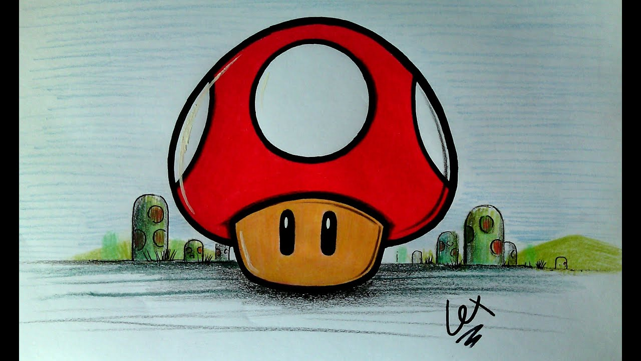 COMO DIBUJAR AL HONGO DE MARIO BROS toad mushrum  YouTube