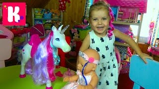 Беби Борн игрушечная лошадь единорог с длинными волосами