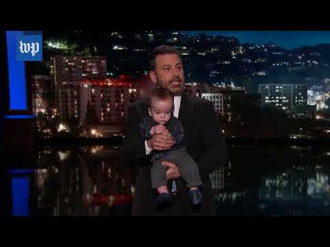 Kimmel makes emotional plea for children's health care while holding his son