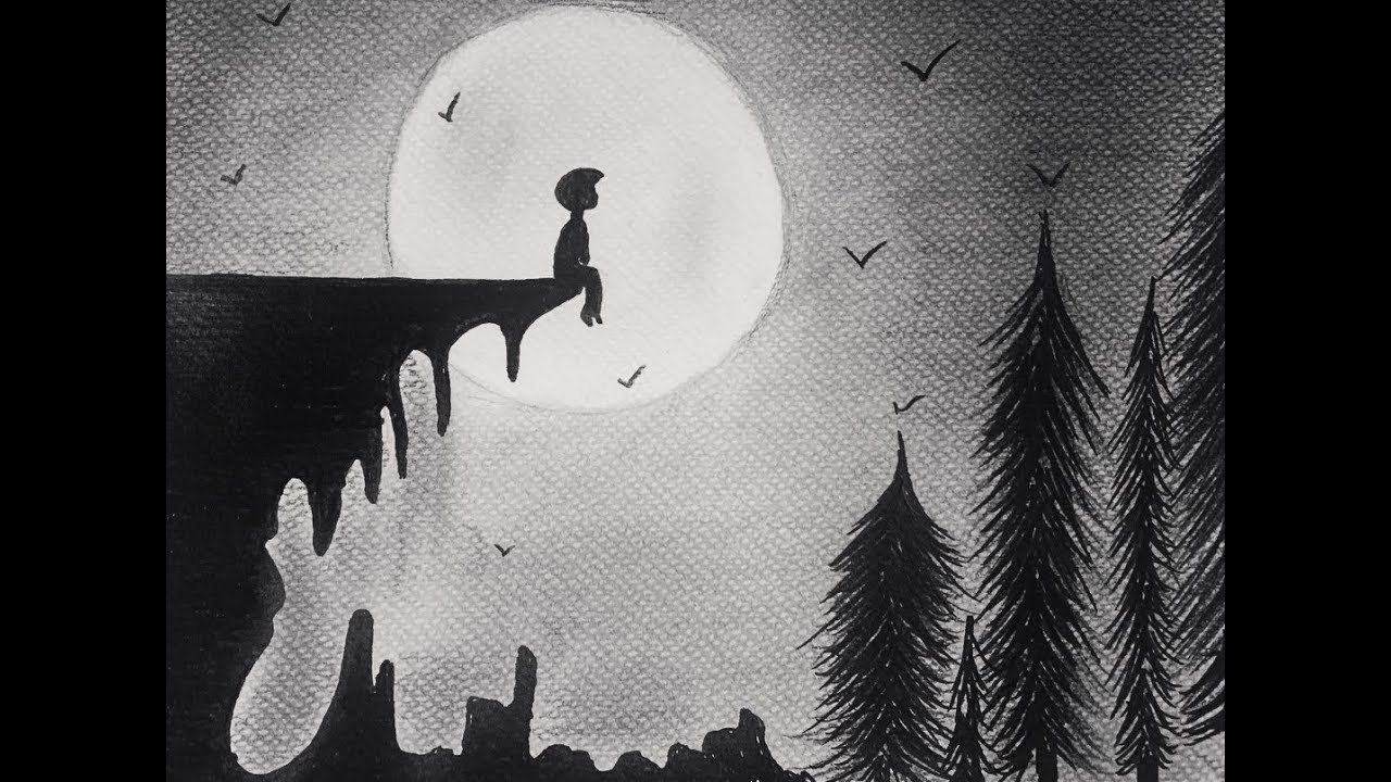 Easy Drawing Black And White How To Draw A Sad Boy Sitting Alone With The Moon Art Drawing Youtube