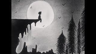 drawing alone artwork sad boy drawings easy moon draw sitting pencil google