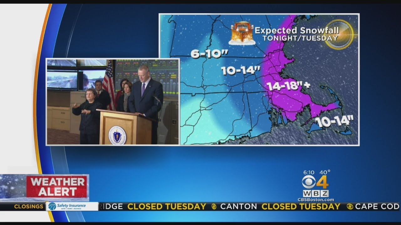 Gov. Baker Urges Public To Stay Off Roads During Nor'easter