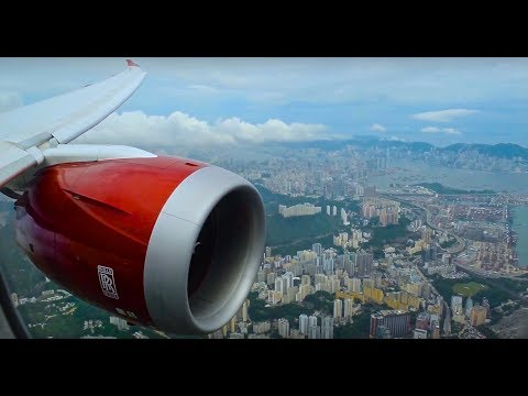 Virgin Atlantic VS206 B787-9 Dreamliner Landing into Hong Kong   2017-Aug-3