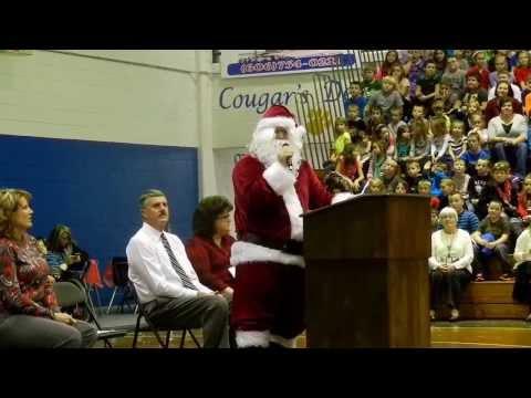 Santa at Elkhorn City Elementary School Christmas Program 2013