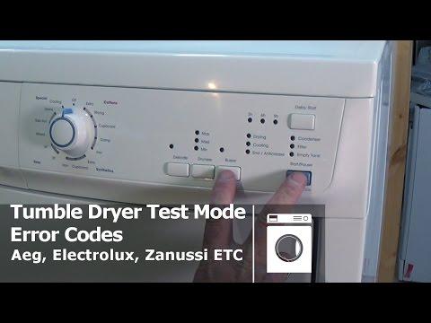 How to enter diagnostic test mode on tumble dryers Aeg, Electrolux, Zanussi Etc