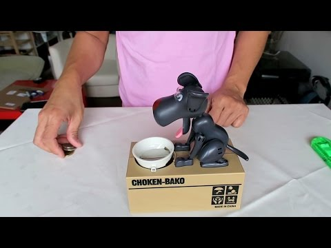 Unboxing Cute Dog Model Piggy Bank Money Save Pot Coin Box
