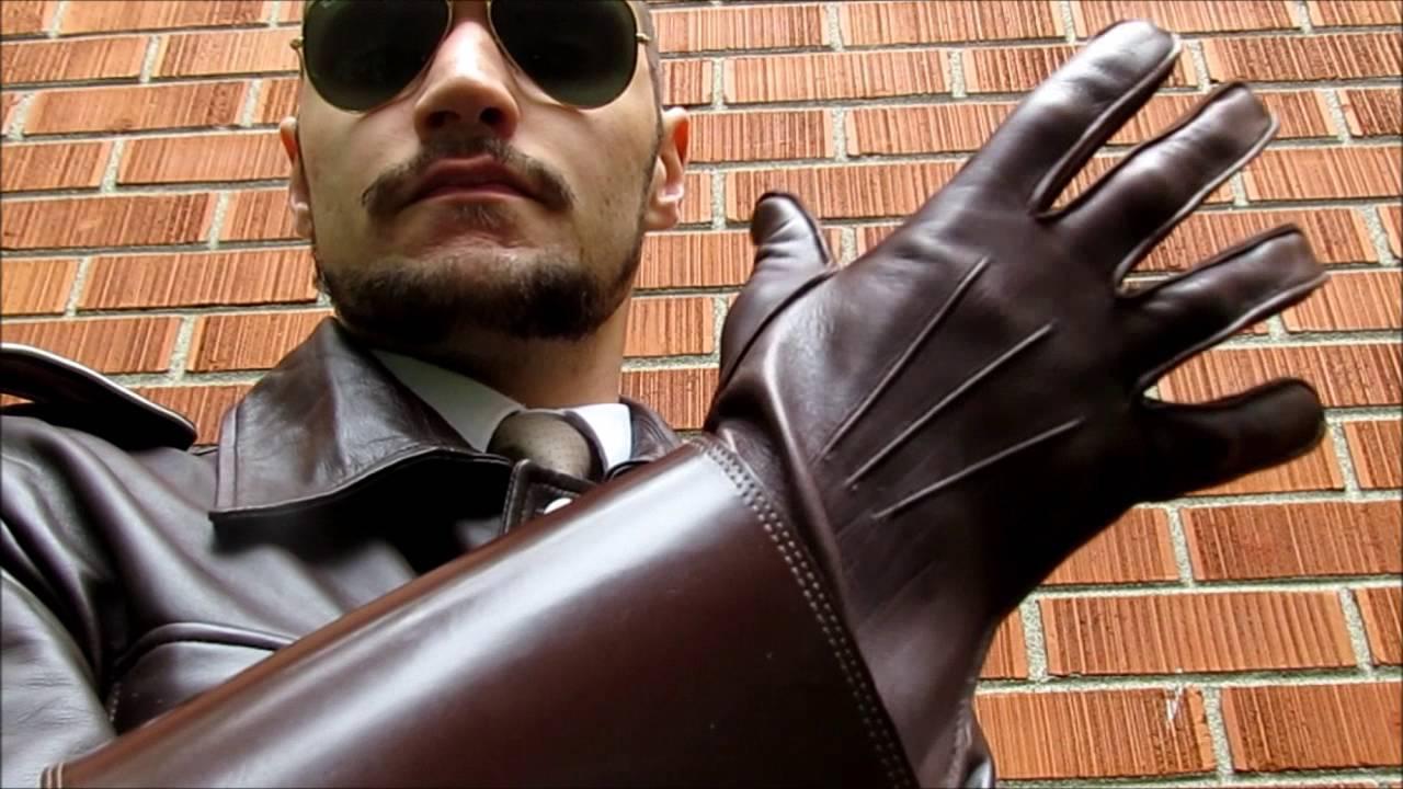 Black leather uniform gloves - Black Leather Uniform Gloves 47