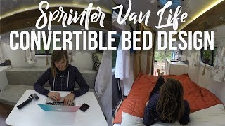 """Slide-out Convertible Couch / Bed in a 144"""" Sprinter Camper Van"""