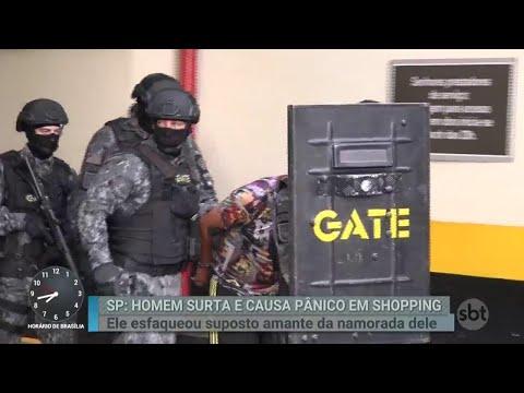 Por ciúmes, homem invade shopping e ataca suposto amante da namorada | Primeiro Impacto (27/04/18)