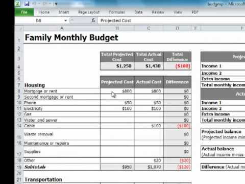 Creating a monthly budget in Excel - YouTube