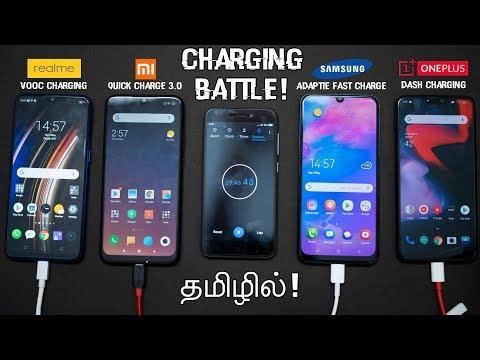 realme-3-pro-vs-redmi-note-7-pro-vs-samsung-galaxy-m30-vs-oneplus-6---charging-battle-in-tamil!