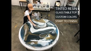 Tinted Resin Glass Round Table Top 54