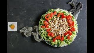 Салат с курицей и овощами с горчичной заправкой