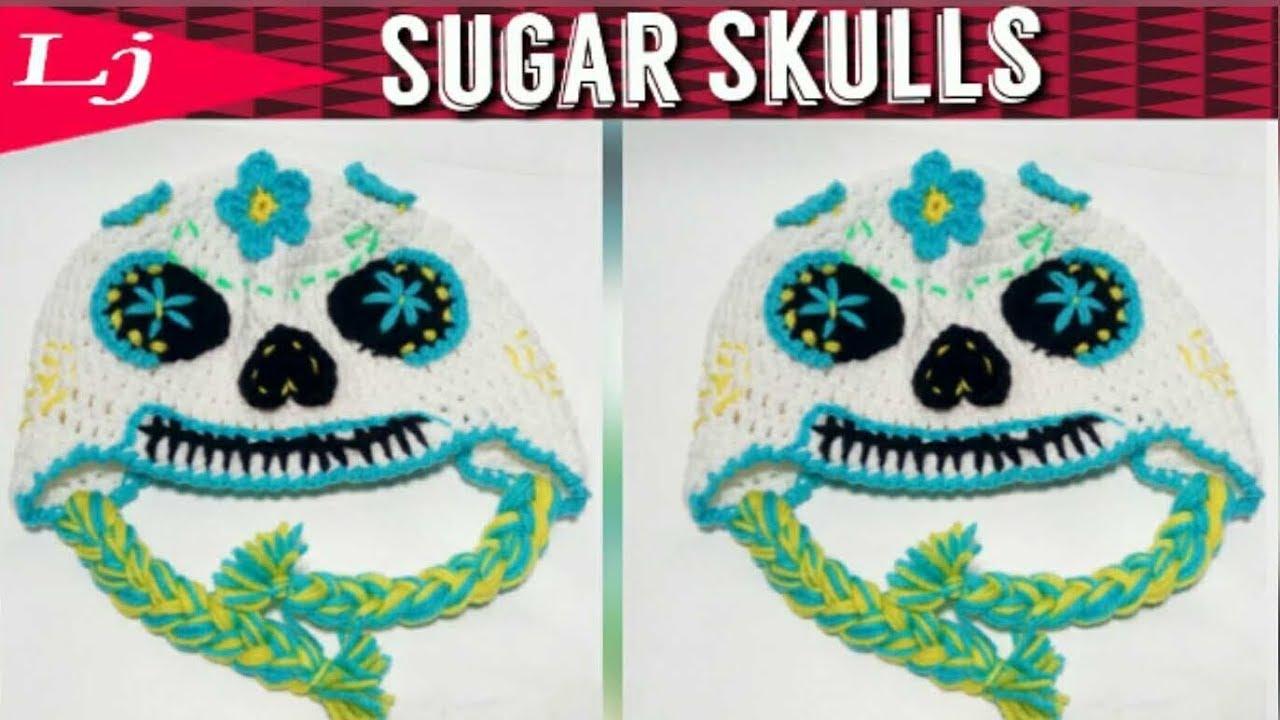 Crochet Sugar Skull Hat Crochet Day Of The Dead Skull Youtube