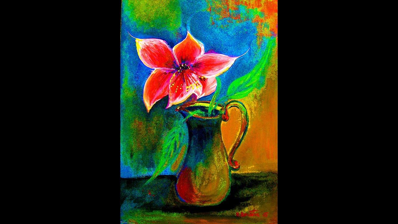 Painting amaryllis flower in a vase acrylic on canvas contemporary painting amaryllis flower in a vase acrylic on canvas contemporary new impressionist by rami benatar youtube floridaeventfo Images
