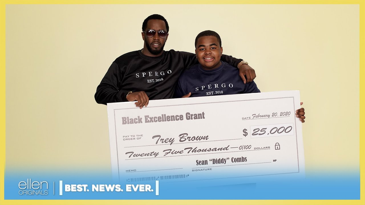 Best. News. Ever.': Sean 'Diddy' Combs and Jeannie Surprise Deserving Fan  Trey Brown - YouTube