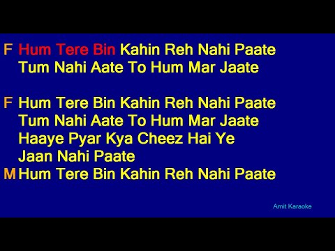 Hum Tere Bin Kahin Reh Nahi Paate -Anuradha Paudwal Manhar Udhas Duet Hindi Full Karaoke with Lyrics