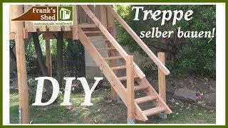 Treppe aus Holz selber bauen | DIY Holztreppe Anleitung | Gartenprojekt 2017 | 🔥 Franks Shed 🔥