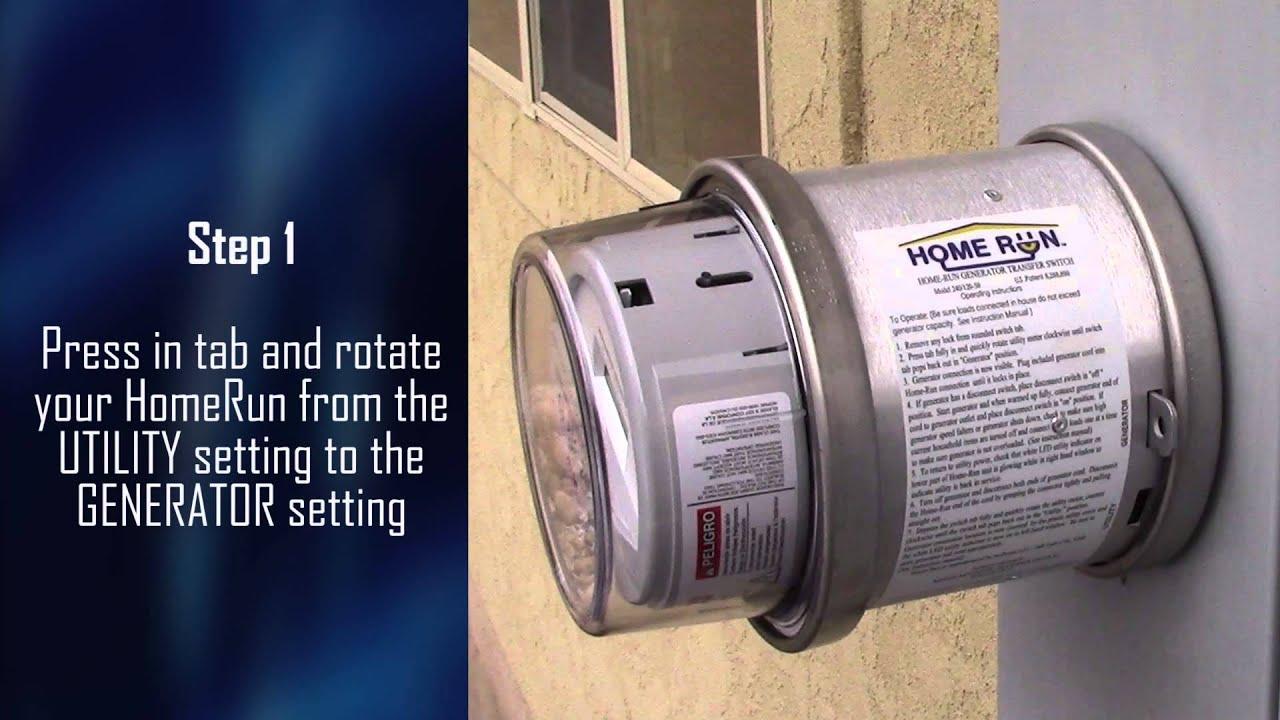 Home Run Homeowner using Transfer Switch 240 120 50