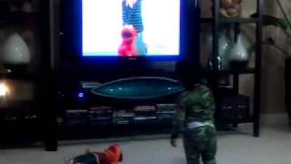 Diego dances with Elmo and Mr. Noodle!