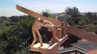 Animated Wood Whirligig -- Veleta Animada En Madeira.  Low Wind