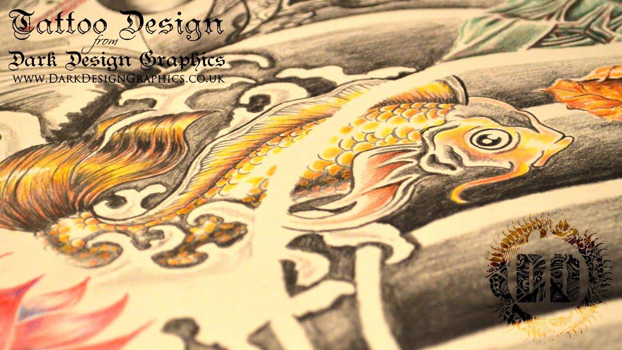 japanese sleeve tattoo design speed drawing youtube
