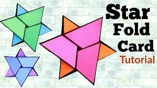 Star Fold Card Tutorial   How to make Napkin fold card   Friendship Day Card  