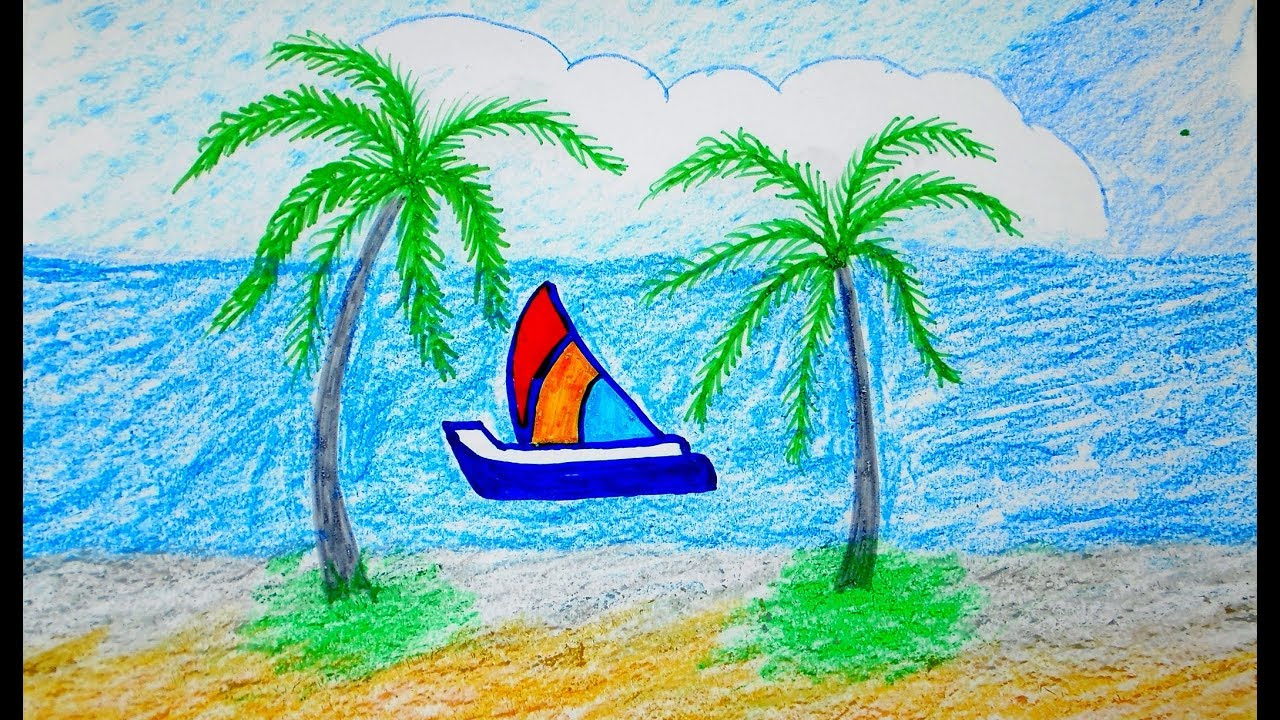 пленник рисунок море солнце пляж простой появлении первых