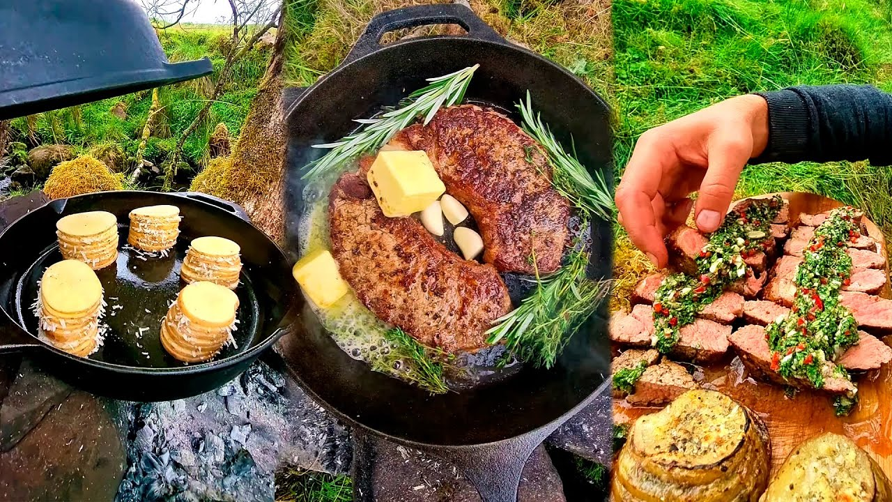 🏕️ Campfire Cooking Sirloin Steak with Potato Towers 🥩 ASMR Cooking in the Wild