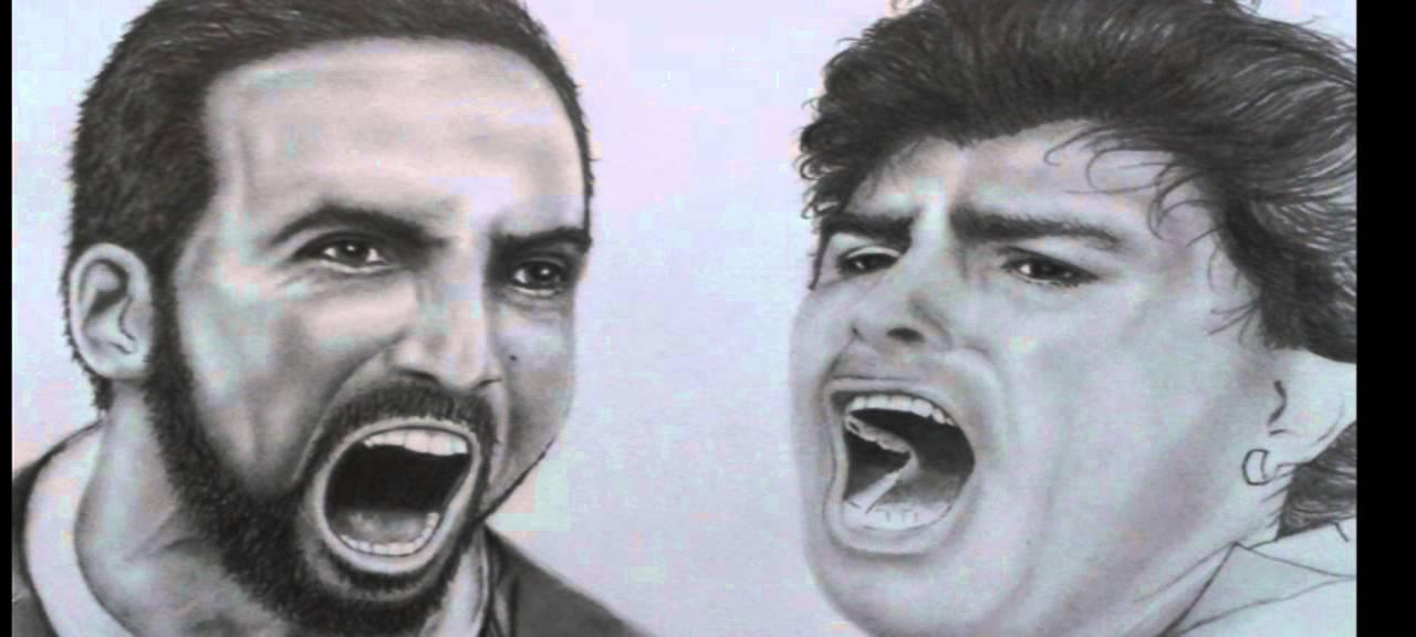 Un giorno all'improvviso Maradona e Higuain , disegno ...