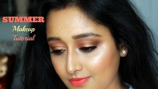 SUMMER Makeup Tutorial For INDIAN/ ASIAN/ MEDIUM Skin | Sweet Nika