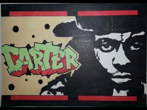 Lil Wayne Graffiti Letters & Stencil Drawing - Carter