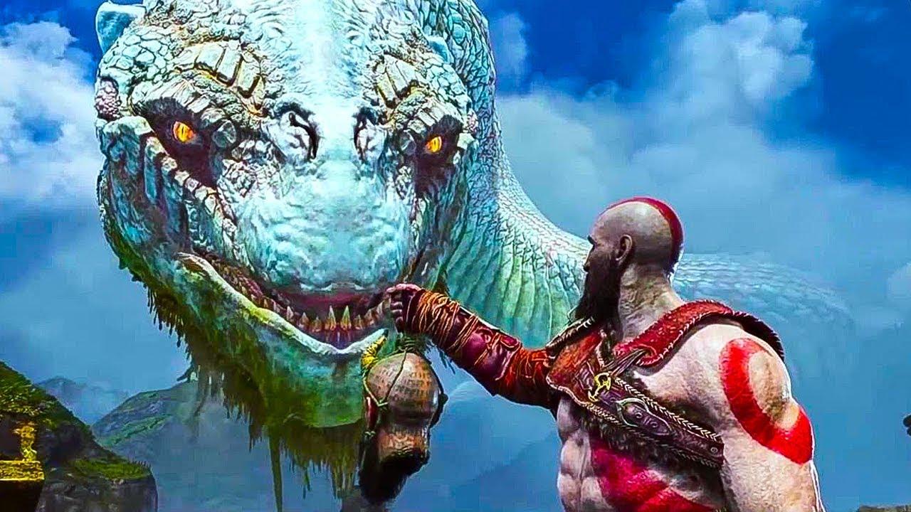 God of war 4 kratos vs the world serpent gameplay - God of war jormungandr ...