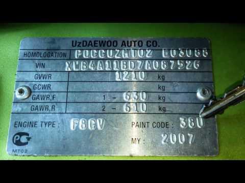 Паспортные данные Daewoo Matiz 0.8L-1.0L МКПП и АКПП расшифровка VIN