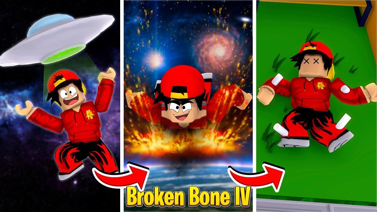 ROBLOX - BROKEN BONES IV, JUMPING OFF AN ALIEN SPACESHIP!!