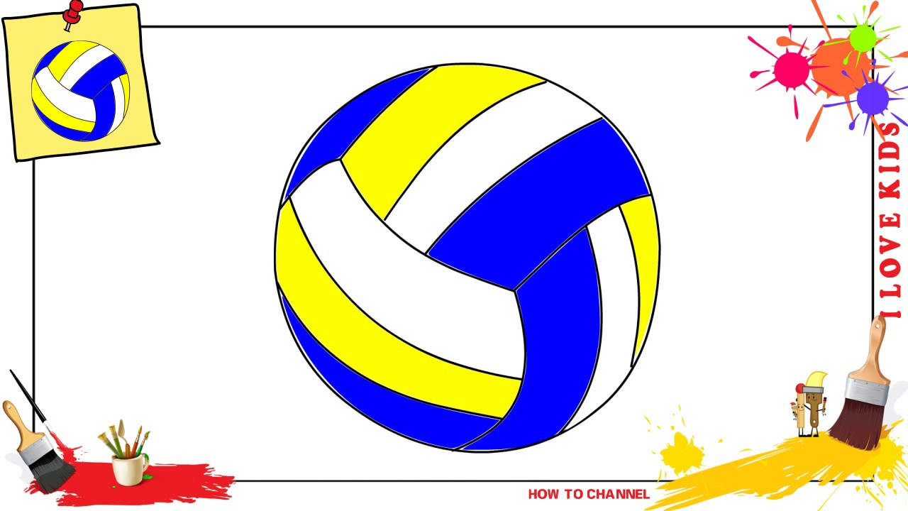 How to draw a volleyball EASY & SLOWLY step by step for kids - YouTube