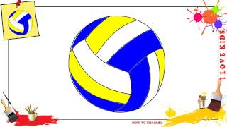 How to draw a volleyball EASY & SLOWLY step by step for kids