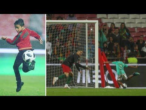 Cristiano Ronaldo goalkeeper for son CR7 Jr and nephew