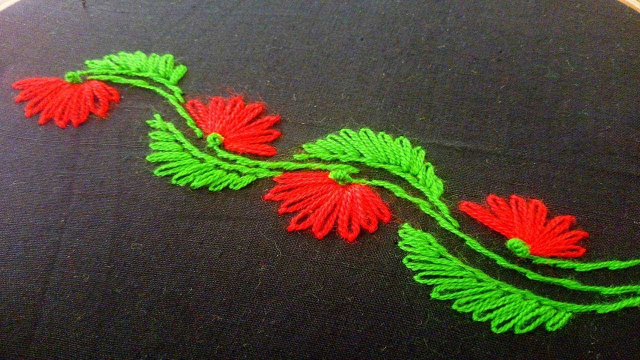 Hand Embroidery Designs Rder Line Lazy Daisy Stitches Tutorial