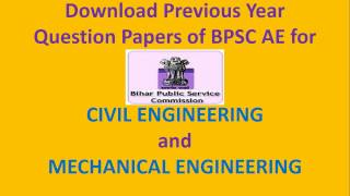 download previous year question papers of bpsc ae for civil engineering and mechanical engineering