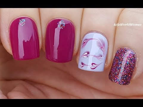 elegant purple nail art with marble hearts design  youtube