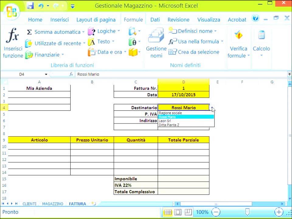 Gestione Magazzino Excel #1 Fatture in Automatico - YouTube
